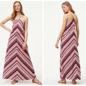 NWT Loft Linen Blend XXL Chevron Maxi Dress Boho